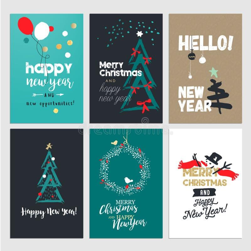 Grußkartensammlung des neuen Jahres und des Weihnachten stock abbildung