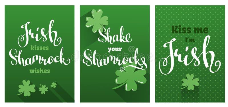 Grußkartensatz für Tag St. Patricks stock abbildung