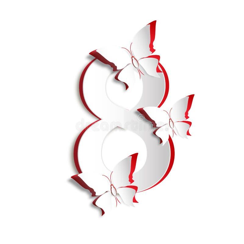 Grußkartenschablone März-Frauen Tages vektor abbildung