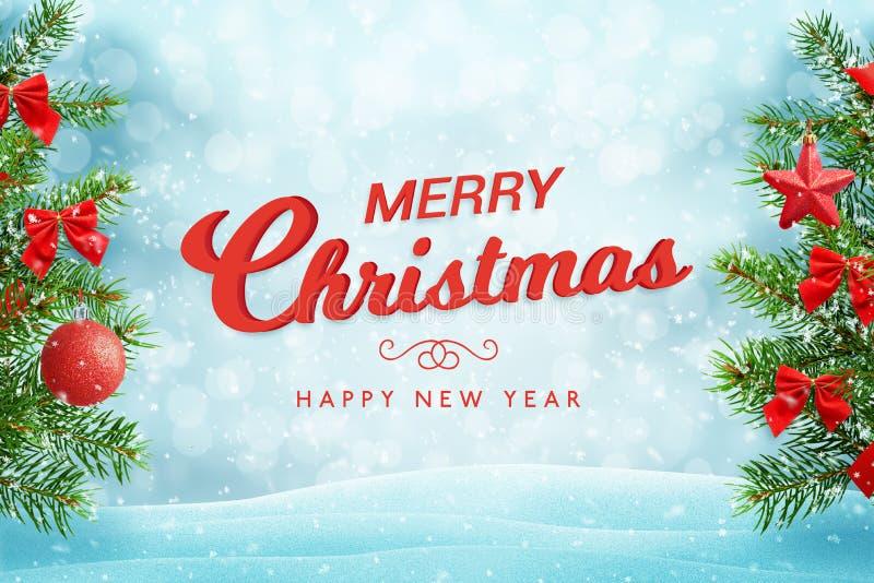 Grußkartentext der frohen Weihnachten und des guten Rutsch ins Neue Jahr auf Weihnachtsschneehintergrund mit Weihnachtsbaum stock abbildung
