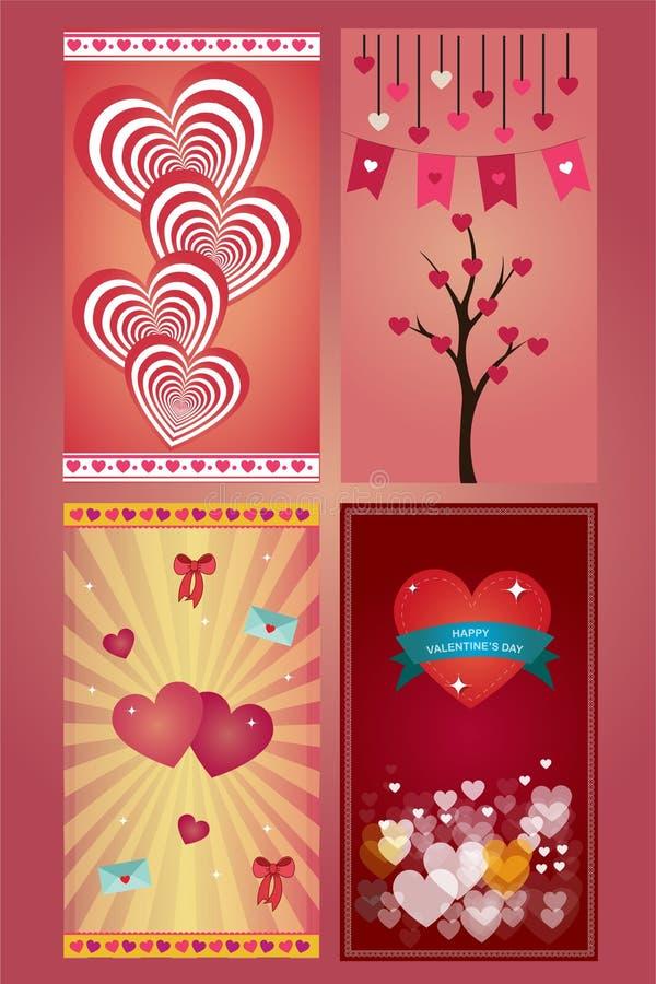 Grußliebeskarten des Valentinstags in 4 Veränderungen stock abbildung