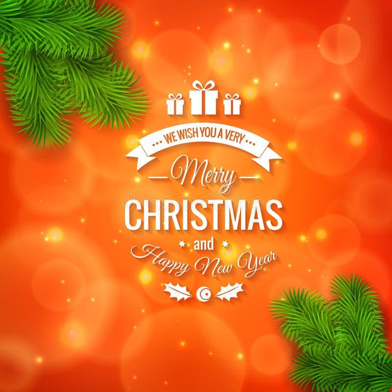 Grußlogo der frohen Weihnachten auf buntem Hintergrund lizenzfreie abbildung