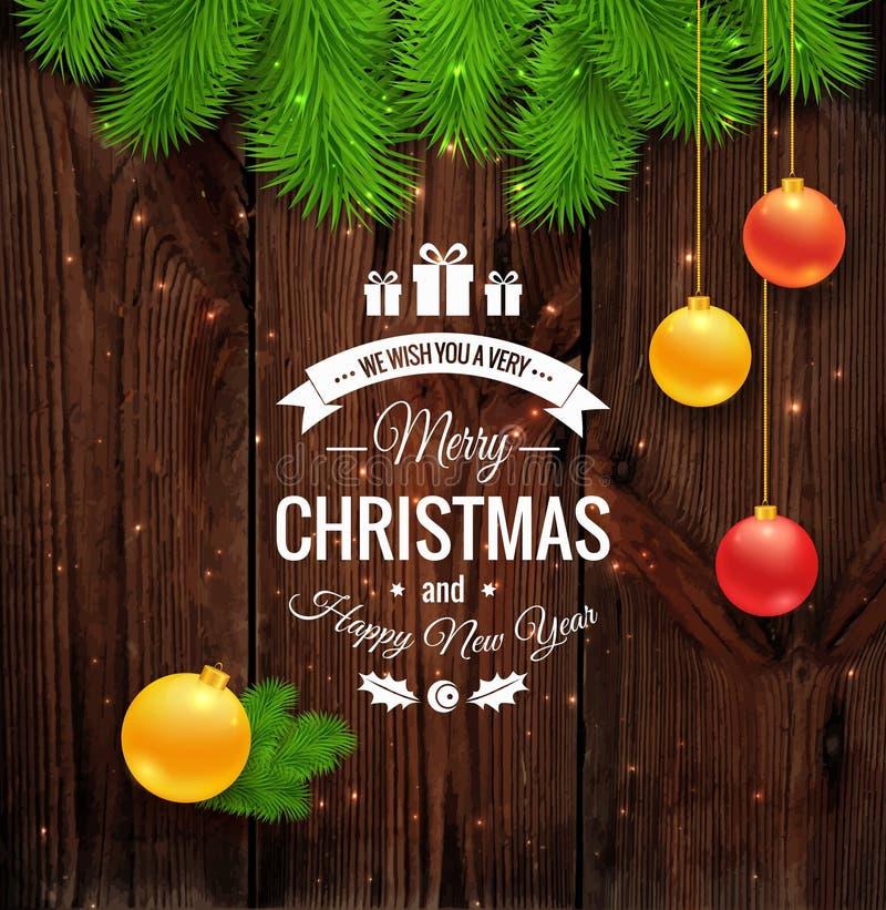 Grußlogo der frohen Weihnachten auf Holz vektor abbildung