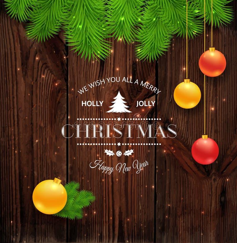 Grußlogo der frohen Weihnachten auf Holz lizenzfreie abbildung