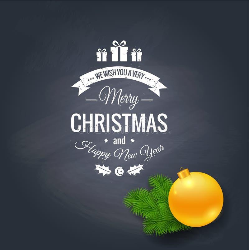 Grußlogo der frohen Weihnachten auf Tafel lizenzfreie abbildung