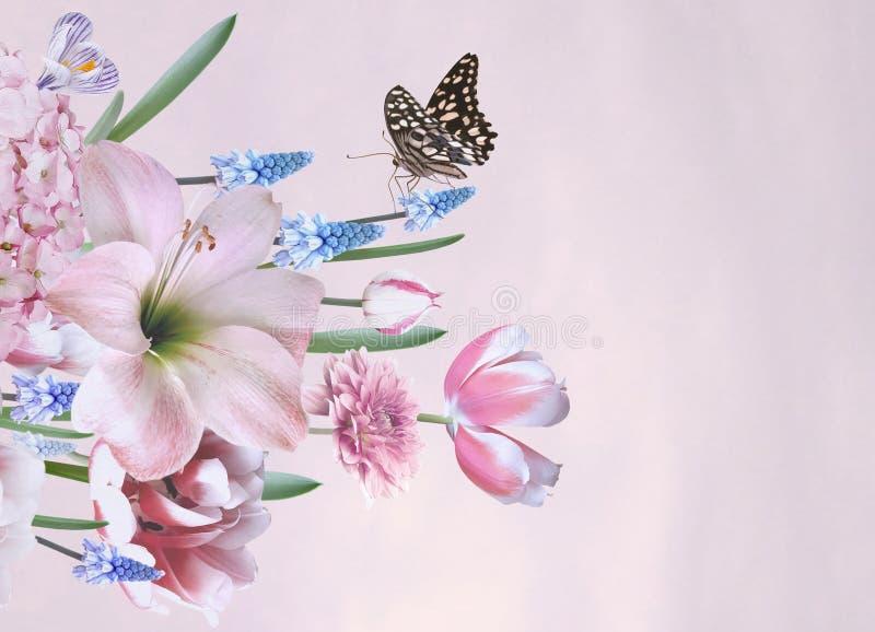 Gruß oder Visitenkarte Blumenstrauß der Frühlingsblumen stock abbildung