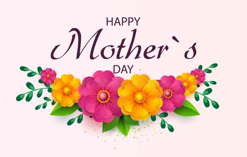 Grußkarte der Mutter s Tagesmit schönen Blütenblumen vektor abbildung