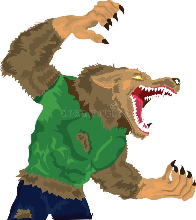 Gruñido del hombre lobo ilustración del vector