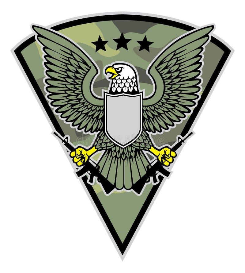 Gru a benna militare della mascotte dell'uccello un le paia del fucile royalty illustrazione gratis