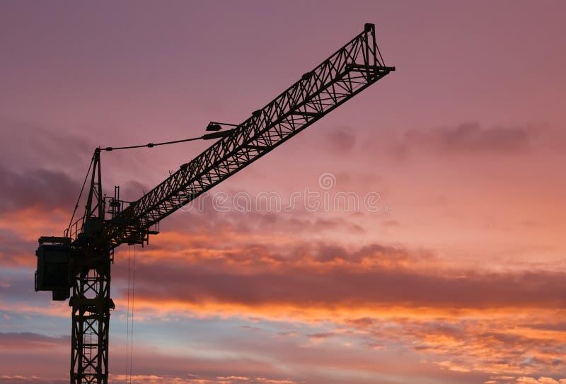 Gru di colonna all'alba fotografia stock libera da diritti