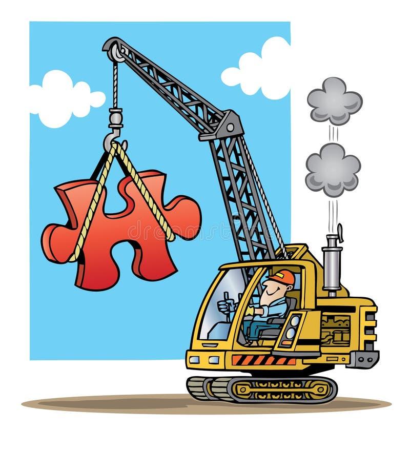 Gru di costruzione che di sollevamento un grande piec rosso di puzzle royalty illustrazione gratis