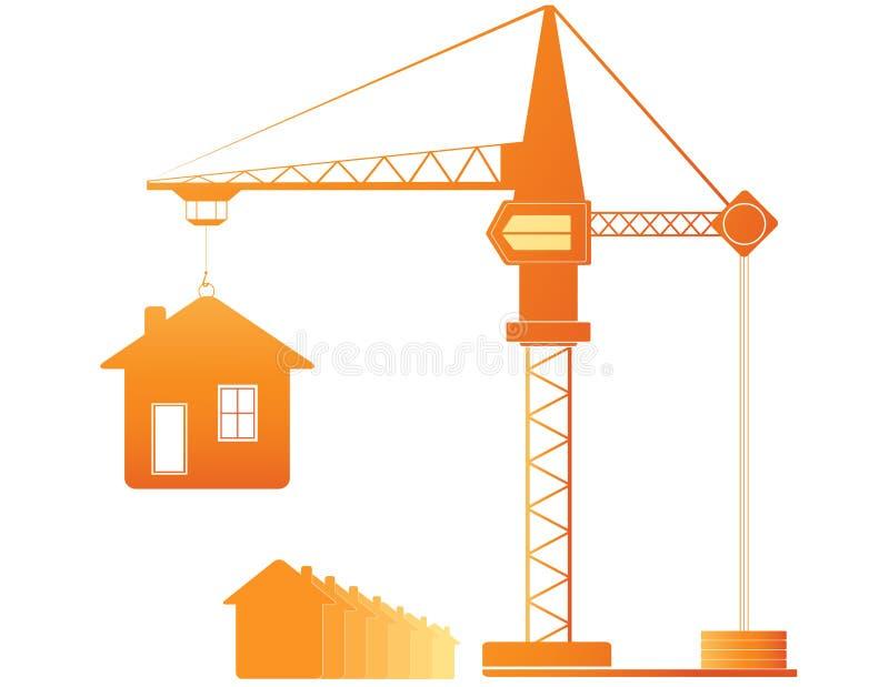 Gru di costruzione e molte case illustrazione vettoriale for Costruzione di case a prezzi accessibili