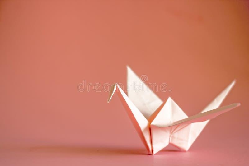 Gru di origami da carta su un fondo normale, spazio della copia immagine stock libera da diritti