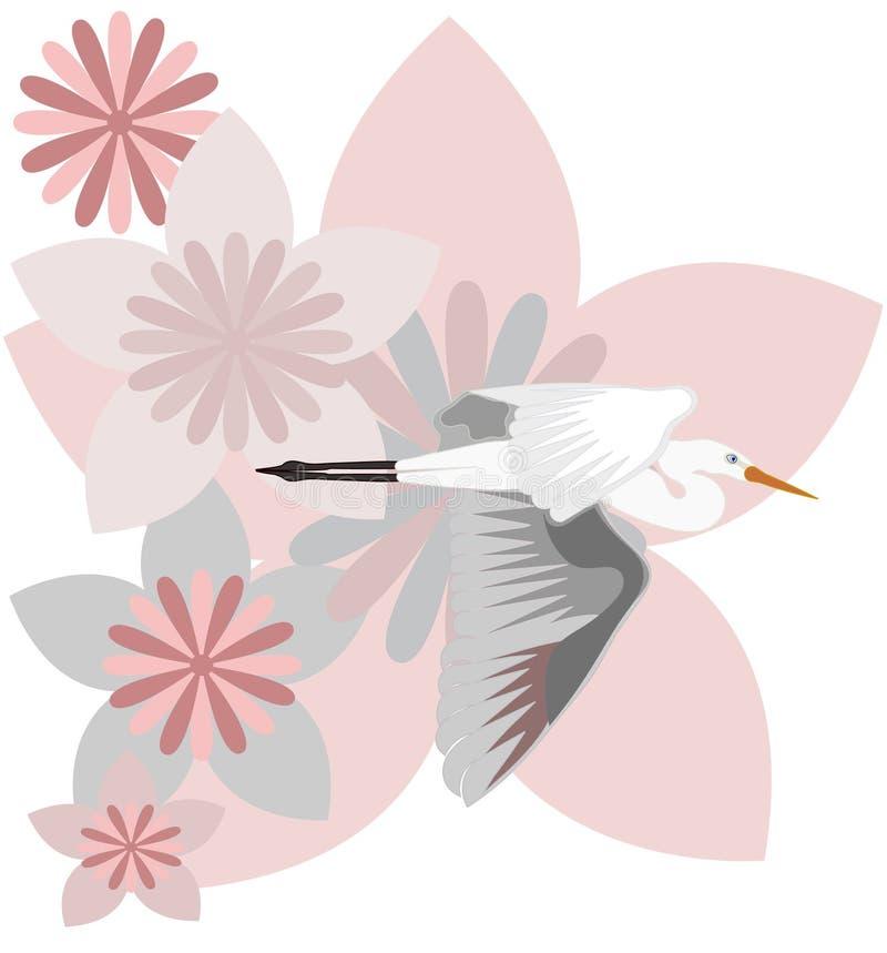 Gru e fiori illustrazione di stock