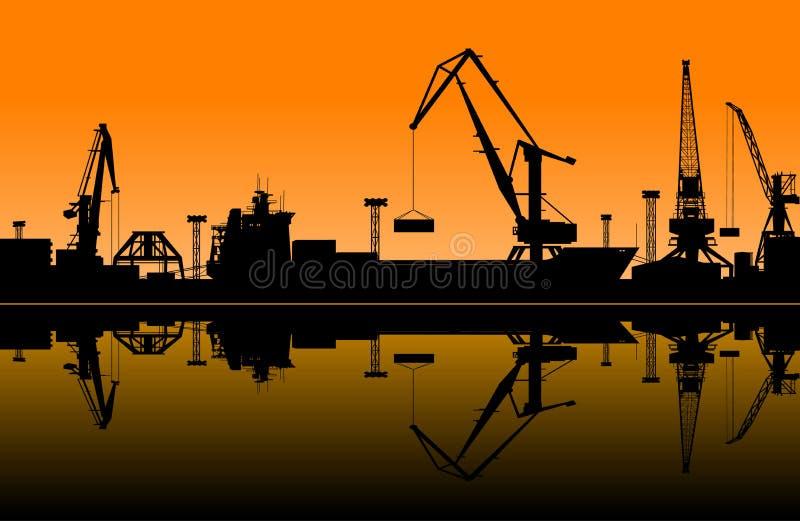 Gru funzionanti in porto marittimo illustrazione vettoriale