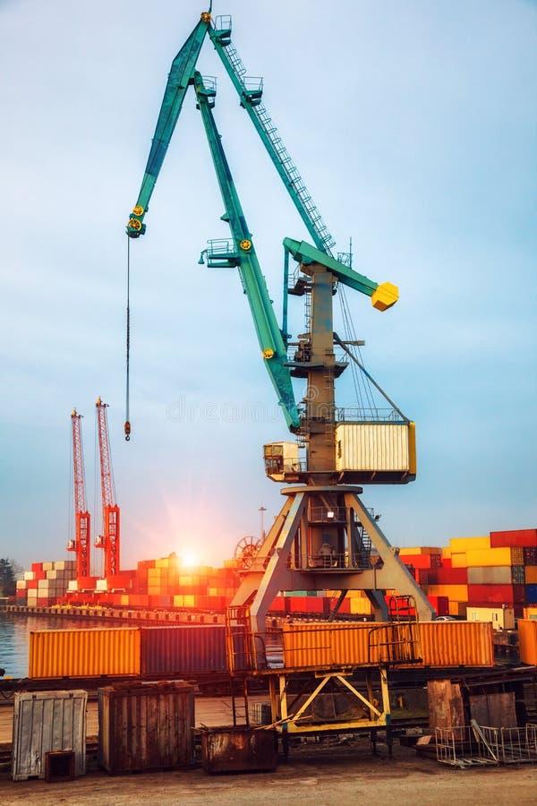 Gru industriali che caricano container merci per navi da carico fotografia stock libera da diritti