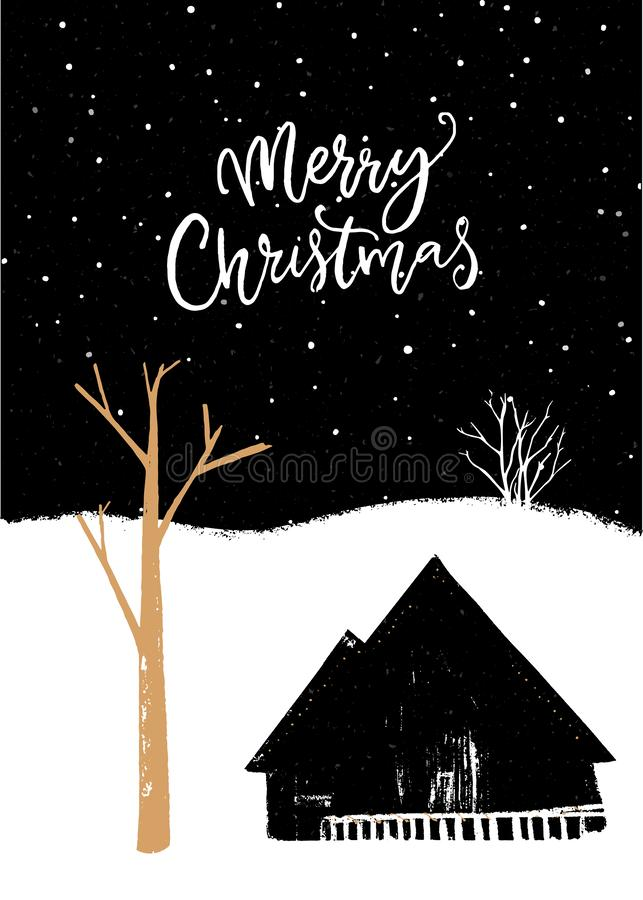 Gru?karte der frohen Weihnachten Schwarzweißabbildung mit Goldbaum und Dorfhäuschen Nachtlandschafts? Lampen und -autos auf der S lizenzfreie abbildung