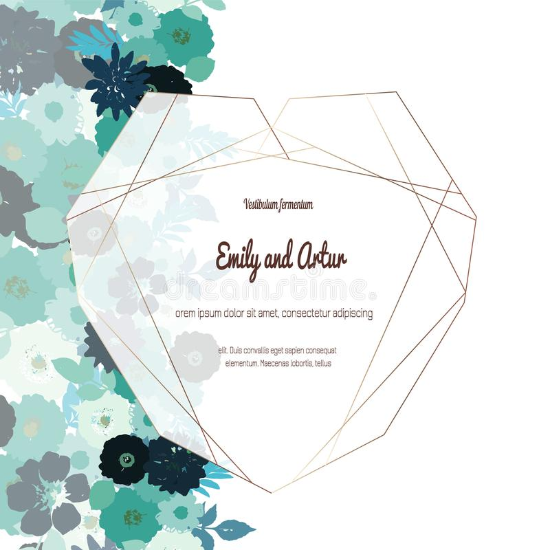 Gru?karte mit Rosen, kann als Einladungskarte f?r die Heirat, Geburtstag und anderer Feiertag und Sommerhintergrund benutzt werde stock abbildung