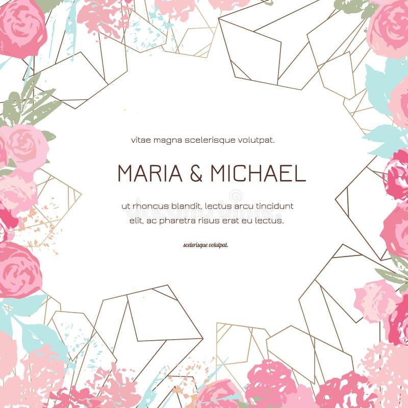 Gru?karte mit Rosen, kann als Einladungskarte f?r die Heirat, Geburtstag und anderer Feiertag und Sommerhintergrund benutzt werde lizenzfreie abbildung