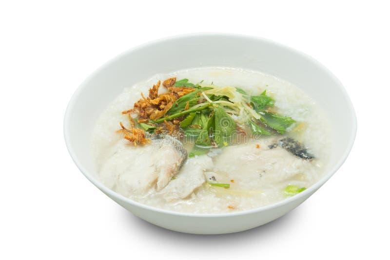 Gruau de riz avec des poissons images libres de droits