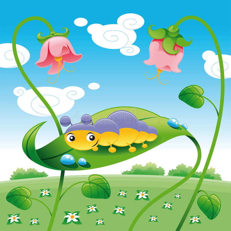 Download Grub on the leaf stock vector. Illustration of cute, mollusc - 9732756