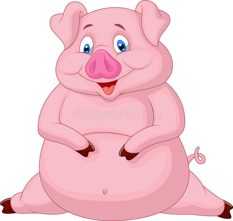 Gruba świniowata kreskówka ilustracja wektor