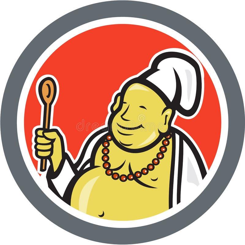 Gruba Buddha szefa kuchni Cook kreskówka royalty ilustracja