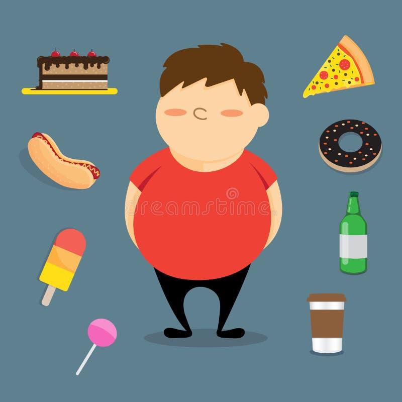 Gruba chłopiec i fast food royalty ilustracja