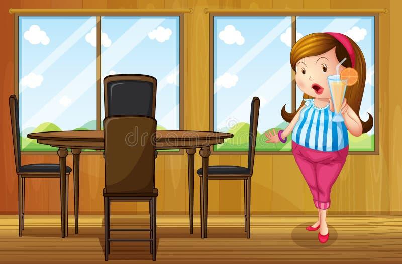 Gruba dziewczyna trzyma sok wśrodku domu royalty ilustracja