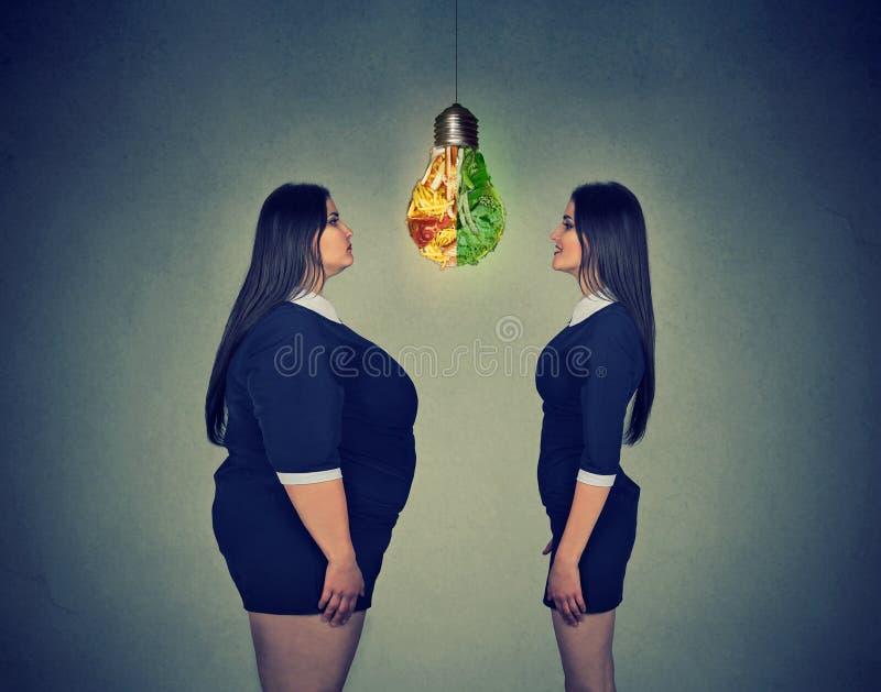 Gruba kobieta patrzeje schudnięcie napadu dziewczyny Dieta wyboru dobra odżywiania pojęcie obraz royalty free