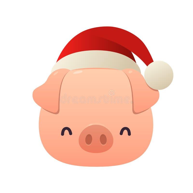 Gruba mała świnia z Bożenarodzeniową Santa czerwoną nakrętką royalty ilustracja