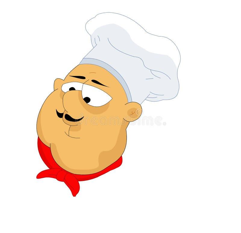 Gruba szef kuchni głowa ilustracja wektor