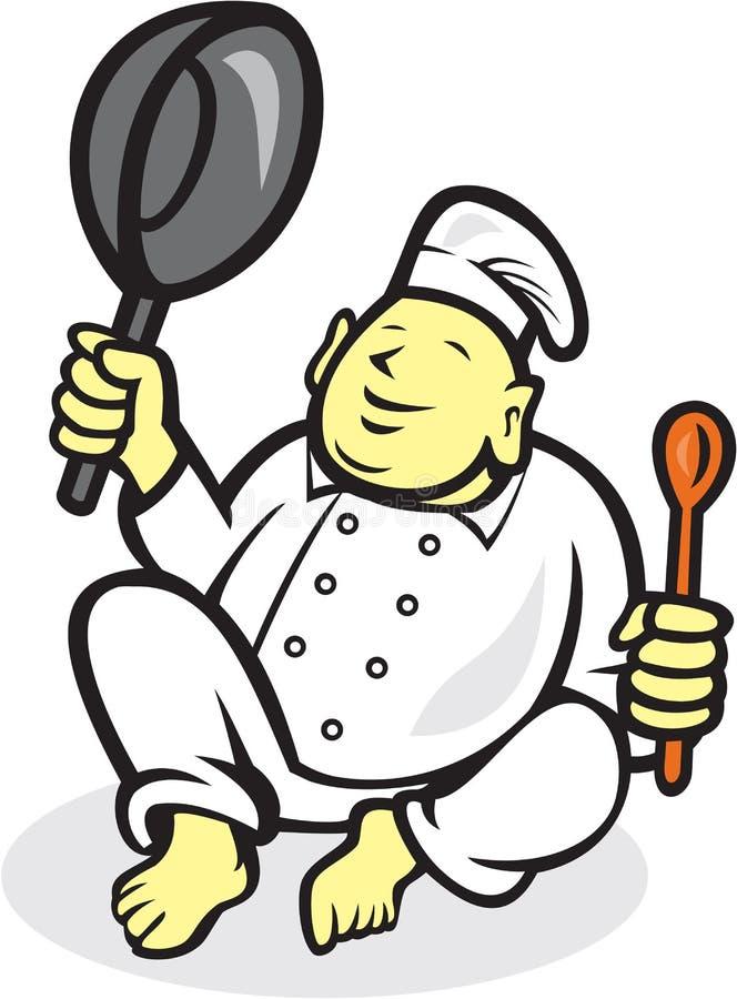 Grubego Buddha szefa kuchni Cook Siedząca kreskówka royalty ilustracja