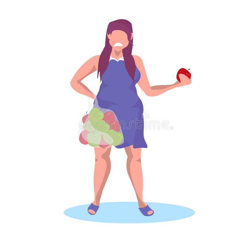 Grubego otyłego dziewczyny mienia kobiety łasowania owoc diety ciężaru straty pojęcia kobiety jabłczana owocowa smutna nieszczęśl royalty ilustracja