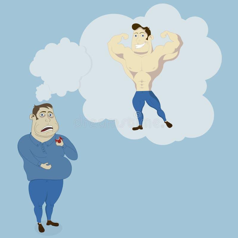 Grubi mężczyzna sen Foremny silny mężczyzna ilustracji
