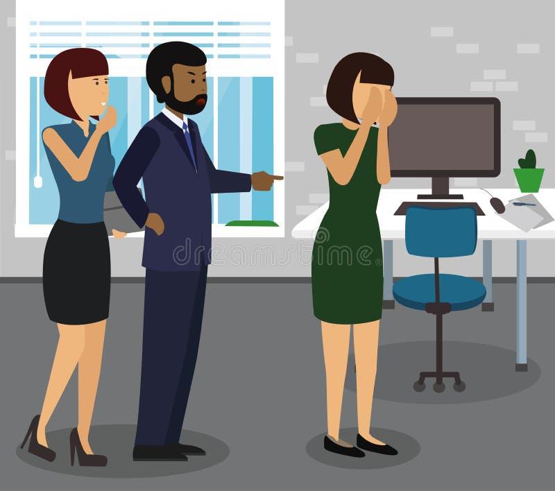 Grubiański szefa grożenie i wrzeszczeć, wskazujący palec przy jego pracownikiem ilustracja wektor