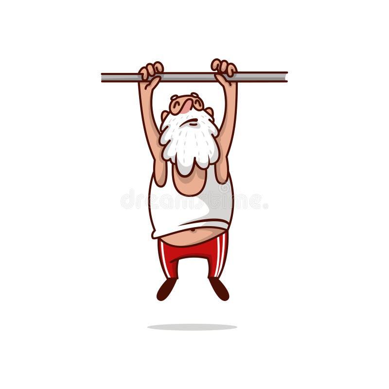 Gruby Święty Mikołaj obwieszenie na crossbar i próbować ciągnąć w górę Stary brodaty mężczyzna Fizyczna aktywność Kreskówka wekto ilustracja wektor