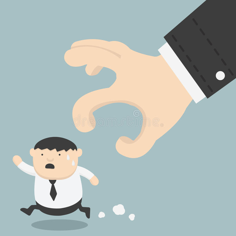 Gruby biznesmen próbuje bieg zdala od ręki ilustracja wektor