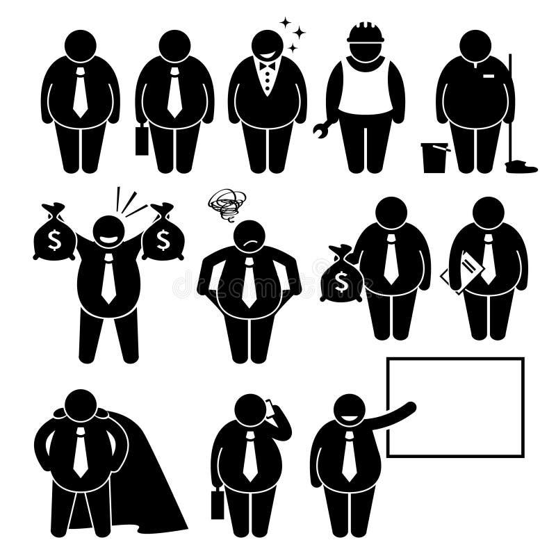 Gruby biznesmena Biznesowego mężczyzna pracownik Cliparts ilustracji