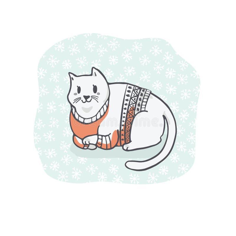 Gruby Bożenarodzeniowy kot w Hafciarskim pulowerze Clipart, ręka Rysujący kota kochanek ilustracja wektor