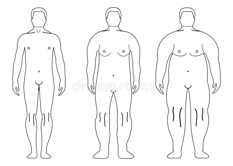 Gruby Europejski mężczyzna Konturu styl Ludzka frontowa strona ilustracji