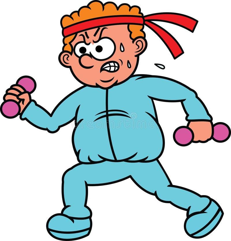 Gruby mężczyzna Ćwiczy z Małą Dumbbell kreskówką royalty ilustracja