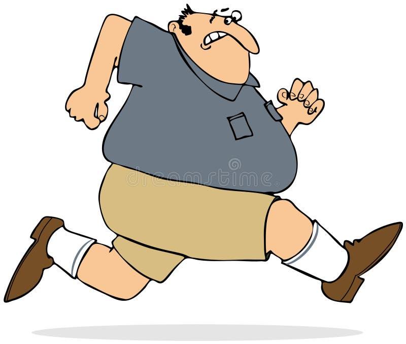 Gruby Mężczyzna Biec Sprintem Zdjęcia Royalty Free