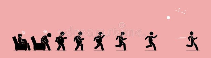 Gruby mężczyzna dostaje up, biega i zostać cienki transformacja, ilustracja wektor