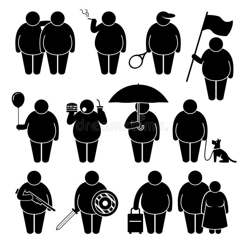 Gruby mężczyzna mienie Używać Różnorodnych przedmioty Cliparts royalty ilustracja