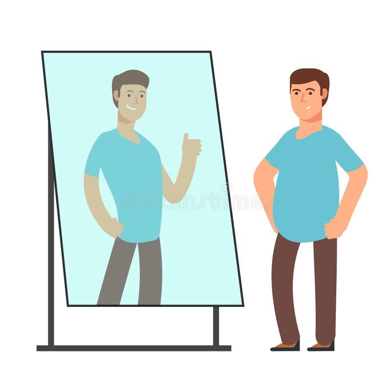 Gruby mężczyzna patrzeje na silnej i cienkiej osoby odbiciu w lustrze Sprawność fizyczna celów wektoru pojęcie ilustracji