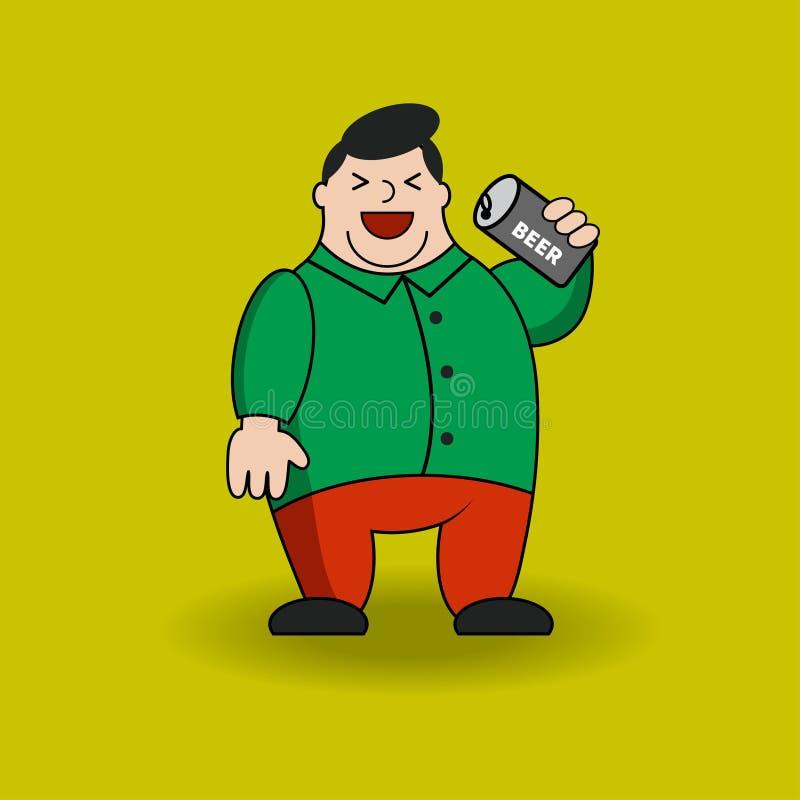 Gruby mężczyzna z piwem royalty ilustracja