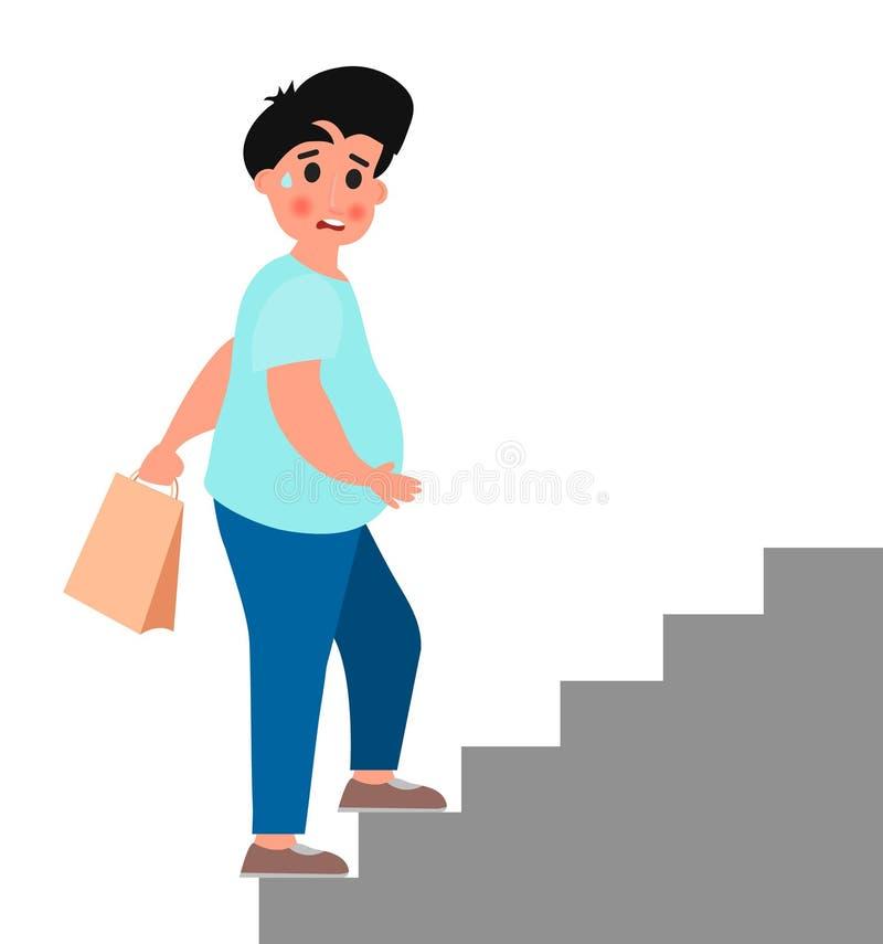 Gruby młody człowiek wspina się w górę schodków tła ilustracyjny rekinu wektoru biel ilustracja wektor