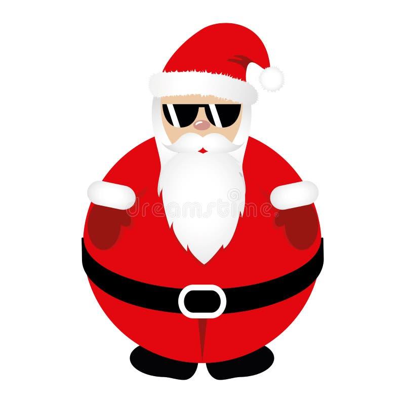 Gruby modniś Święty Mikołaj w czerwieni ubraniach z chłodno okularami przeciwsłonecznymi ilustracji