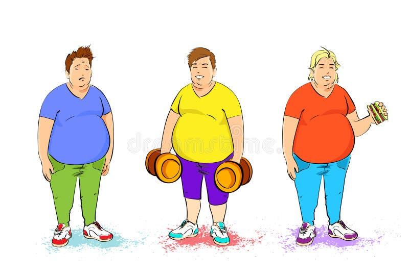 Gruby nadwaga trzy mężczyzna ustawia z dumbbell i ilustracji